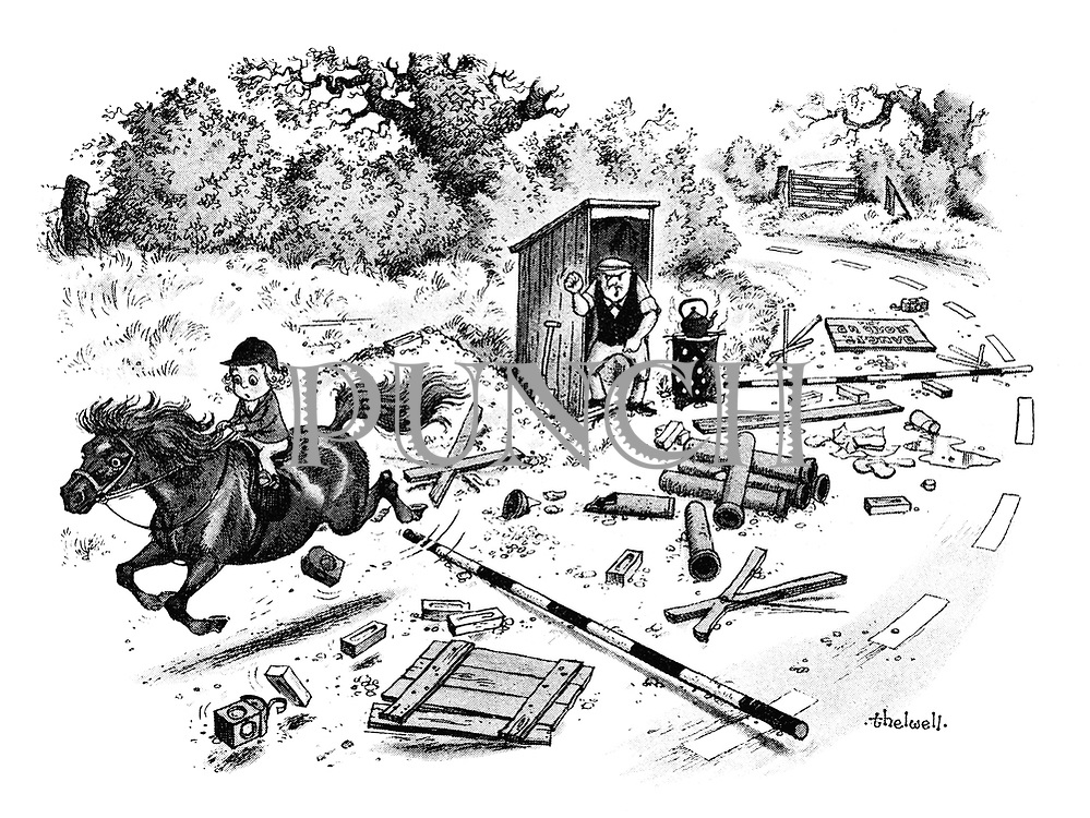 (A little girl on an out of control pony races through a barricade that a roadmender has erected)
