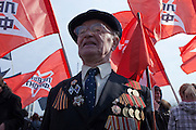 Moscow, Russia, 01/05/2010..A mixture of Communist and anarchist anti-government groups demonstrate in central Moscow. A variety of political groups took to the streets on the traditional Russian Mayday holiday.