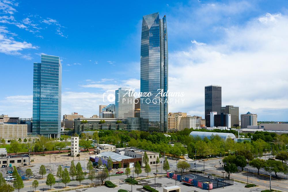 Oklahoma City skyline on April 12, 2020. Photo copyright © 2020 Alonzo J. Adams.