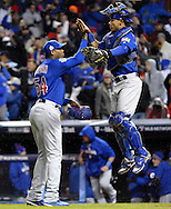 CLEVELAND, OH - OCTOBER 26: Aroldis Chapman #54 and Willson Contreras #40 of the Chicago Cubs celebrate after defeating the Cleveland Indians 5-1 in Game 2 of the 2016 World Series at Progressive Field on Wednesday, October 26, 2016 in Cleveland, Ohio. (Photo by Ron Vesely/MLB Photos via Getty Images)