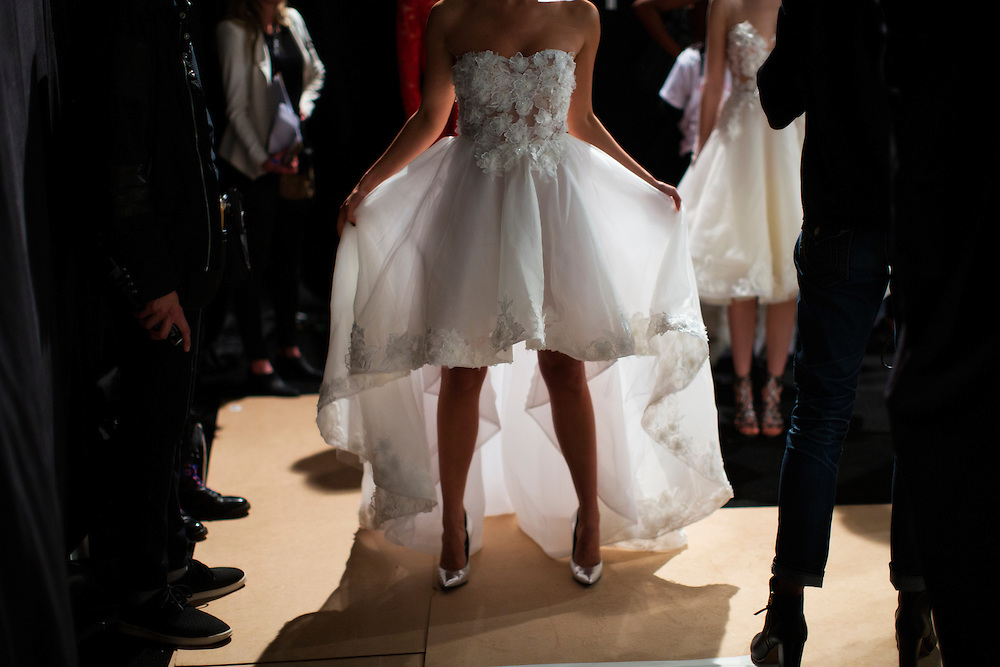 TORONTO, ON - MARCH 14: A model adduring Toronto Fashion Week in Toronto, Ontario. Toronto Star/Todd Korol