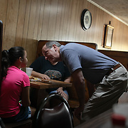 PEMBROKE, NC - JULY 27:  Republican United States House of Representatives candidate in the 9th district of North Carolina, Dan Bishop, meets with residents at the Cozy Corner restaurant in Pembroke, NC on Saturday July 27, 2019.  (Photo by Logan Cyrus / The New York Times)