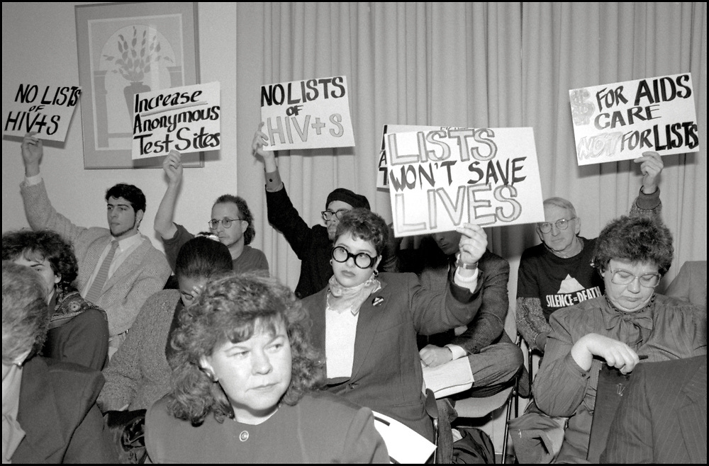 On January 22, 1990, members of ACT UP attended a hearing in Trenton, NJ regarding the State's proposal to link HIV testing to people's names, in order to more accurately count new cases.  ACT UP argued for anonymous testing and recommended unique identifiers instead.