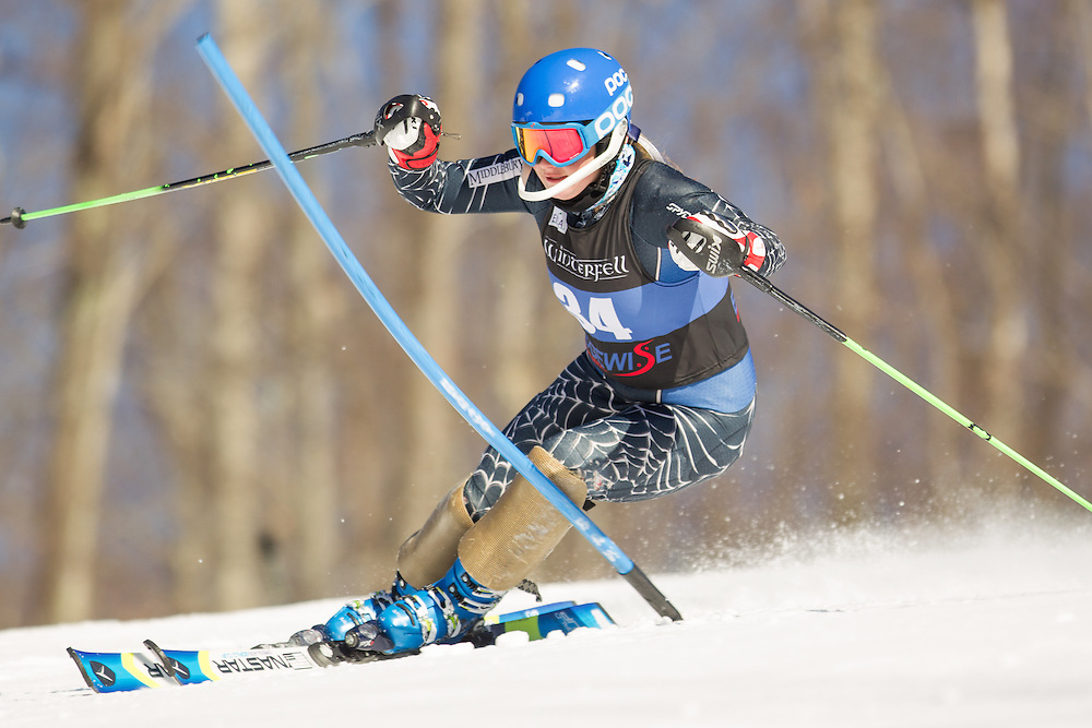 Katelyn Barclay of Middlebury College, skis during the second run of the women's slalom at the Dartmouth Carnival at Dartmouth Skiway on February 8, 2014 in Lyme, NH. (Dustin Satloff/EISA)