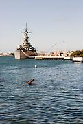 USS Missouri as seen from the USS Arizona Memorial in Pearl Harbor, Hawaii.