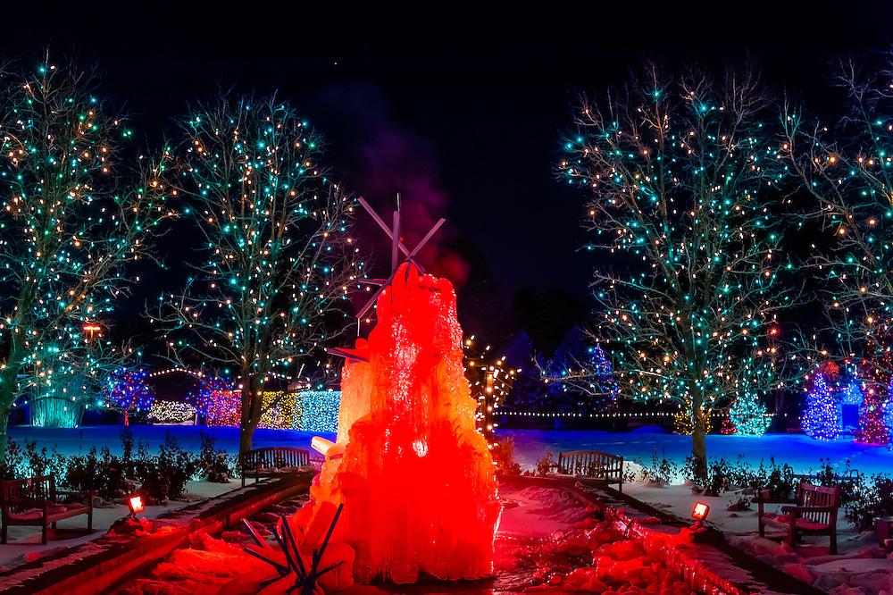 A frozen water fountain, A Hudson Christmas (holiday light show at Hudson Gardens), Littleton, Colorado USA.