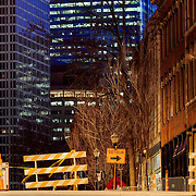 Old and new(er) buildings together during the construction of downtown Kansas CIty's streetcar line. Photo taken at dusk near Third & Delaware Streets in River Market area of Kansas City, Missouri.