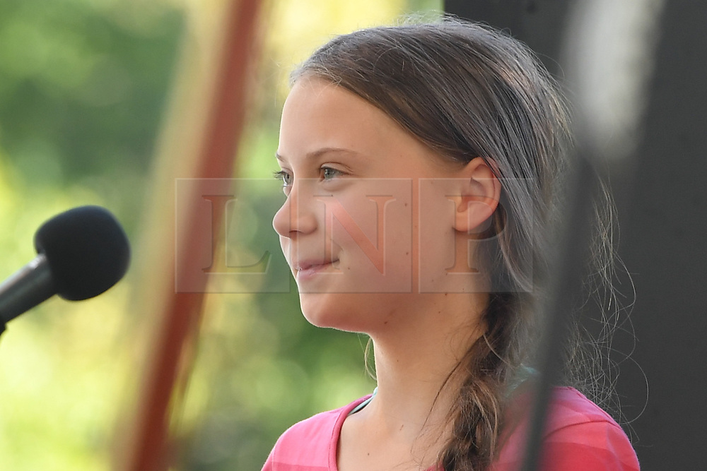 © Licensed to London News Pictures. 20/09/2019. New York, USA  Greta Thunberg addresses a crowd of 60,000 in Battery Park, New York City, at the conclusion of international day of protest focusing on climate change. photo credit: Guilhem Baker/LNP
