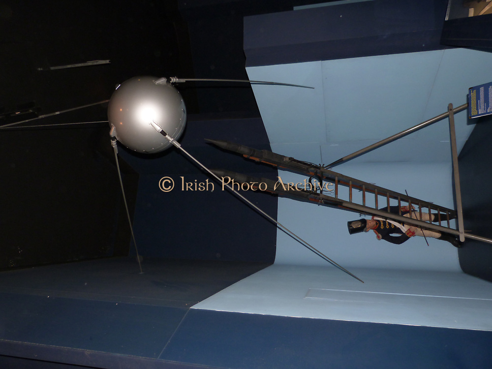 Sputnik 1, replica. Sputnik 1 was launched into the orbit around the earth on October 4th 1957.  It was the first man made satellite, made by the Soviet Union. Sputnik remained in orbit around the earth for 3 months after its launch, then burned up in the