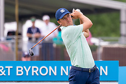 May 9, 2019 - Dallas, TX, U.S. - DALLAS, TX - MAY 09: Jordan Spieth hits his tee shot on the tenth hole during the first round of the AT&T Byron Nelson on May 9, 2019 at Trinity Forest Golf Club in Dallas, TX. (Photo by Andrew Dieb/Icon Sportswire) (Credit Image: © Andrew Dieb/Icon SMI via ZUMA Press)