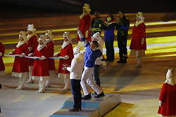 February 25, 2018 - Pyeongchang, KOREA - Men's 50km cross country gold medalist Iivo Niskanen (FIN) celebrates during the closing ceremony for the Pyeongchang 2018 Olympic Winter Games at Pyeongchang Olympic Stadium. (Credit Image: © David McIntyre via ZUMA Wire)