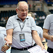 Anadolu Efes's Coach Dusan Ivkovic during their Gloria Cup Basketball Tournament match Anadolu Efes between Olympiacos at Ulker Sports Arena in istanbul Turkey on Tuesday 23 September 2014. Photo by Aykut AKICI/TURKPIX