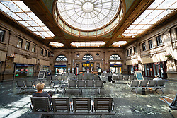 Edinburgh, Scotland, UK. 17 June, 2020. Views from Edinburgh city centre before expected relaxation of covid-19 lockdown by Scottish Government. Pictured; Interior of waiting room at Waverley Station with social distancing on the seating. Iain Masterton/Alamy Live News