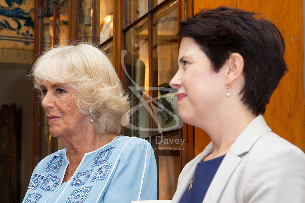 Her Royal Highness Camilla the Duchess of Cornwall hosts a reception at Clarence House to mark the tenth anniversary of First story, an initiative to encourage writing in especially among those from deprived backgrounds in schools across the country PICTURED: Camilla and Executive Director of First Story Monica Parle. London, July 10 2018.