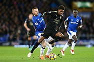 Wayne Rooney of Everton (l) looks to tackle Demarai Gray of Leicester City. Premier league match, Everton v Leicester City at Goodison Park in Liverpool, Merseyside on Wednesday 31st January 2018.<br /> pic by Chris Stading, Andrew Orchard sports photography.