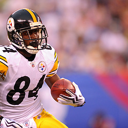 21 Aug, 2010: Pittsburgh Steelers wide receiver Antonio Brown (84) carries the ball during first half NFL preseason action between the New York Giants and Pittsburgh Steelers at New Meadowlands Stadium in East Rutherford, New Jersey.