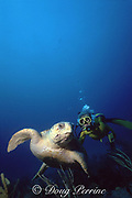 "Norine Rouse,  ""theTurtle Lady"" and loggerhead turtle, Caretta caretta, West Palm Beach, Florida ( Western Atlantic Ocean )"