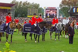 Team Belgium, Somers Lucien, Philippaerts Ludo, Lansink JOs, Van Dijck Marc, Le Jeune Philippe, BEL<br /> CHIO Aachen 2001<br /> © Hippo Foto - Dirk Caremans<br /> 15/06/2001