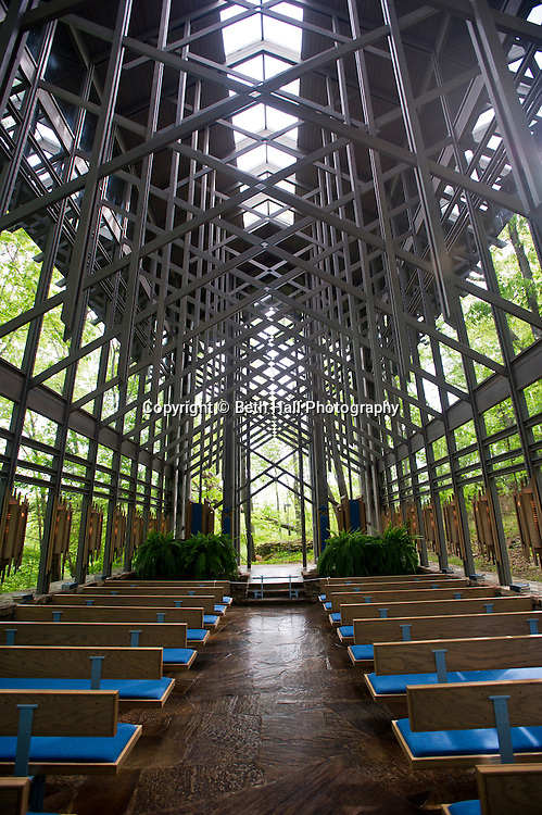 Stock photography of the Thorncrown Chapel, designed by E. Fay Jones, and used for weddings in Eureka Springs, Arkansas.