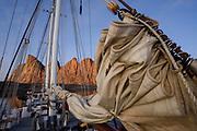 Rigging of the sailing schooner Rembrandt van Rijn, seen at sunrise at Bear Islands, Scoresby Sund, Greenland