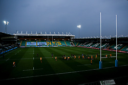 Dark clouds form over Franklin's Gardens during the Premiership Rugby fixture between Northampton Saints and Wasps played behind closed doors due to the Covid-19 pandemic - Mandatory by-line: Robbie Stephenson/JMP - 16/08/2020 - RUGBY - Franklin's Gardens - Northampton, England - Northampton Saints v Wasps - Gallagher Premiership Rugby