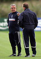 Photo: Paul Thomas.<br /> England training at Carrington. 30/08/2006. <br /> <br /> <br /> Terry Venables (L) and Steve McClaren.