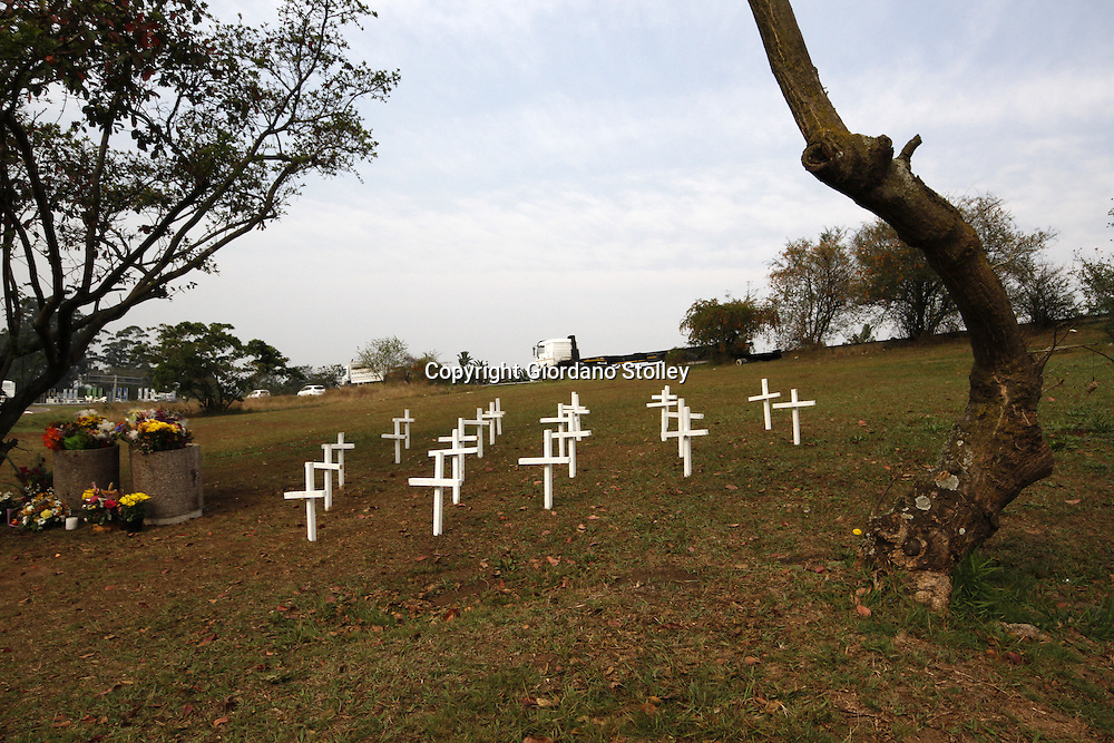 DURBAN - 14 September 2013 - Crosses mark the intersection where 23 people were killed when a truck ploughed through four minibus taxis and a car. Picture: Allied Picture Press/APP