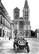 France c 1910, vintage car in a regional town