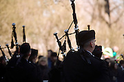 pipers in the St. Patrick's day parade on 5th avenue New York City by Central park