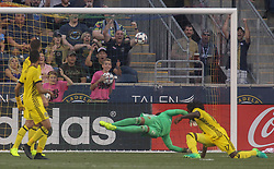 July 26, 2017 - Chester, PA, United States of America - Columbus Crew SC Keeper ZACK STEFFEN (23) attempts to make a save Wednesday, July. 26, 2017, at Talen Energy Stadium in Chester, PA. (Credit Image: © Saquan Stimpson via ZUMA Wire)