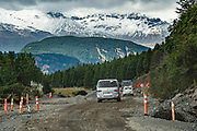 In February 2020, road construction readies for future paving of Carretera Austral (CH-7) west of Villa Cerro Castillo, in Chile, Patagonia, South America. Tourism in Chilean Patagonia is increasing as infrastructure and roads improve.