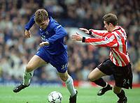 Fotball: Jesper Grønkjær / Groenkjaer, Chelsea,  George McCartney, Sunderland,  Chelsea v Sunderland, FA Premiership, 16.03.2002.<br />Foto: Matthew Impey, Digitalsport