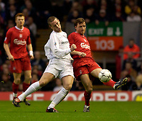 Photo. Jed Wee.<br /> Liverpool v Bolton Wanderers, FA Barclaycard Premiership, Anfield, Liverpool. 26/12/2003.<br /> Bolton's Kevin Nolan (L) clatters into Liverpool's Vladimir Smicer.