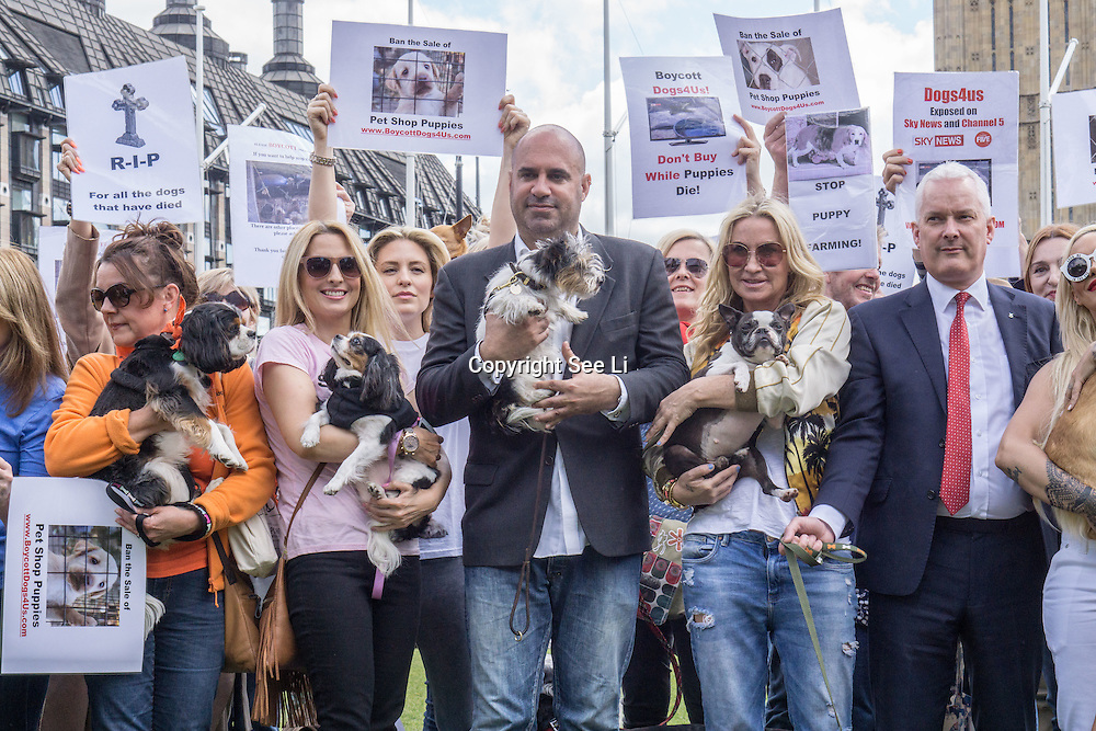 London,England,UK : 24th May 2016 : Celebrities Jodie Marsh,Mp and TV Vet Marc Abraham organise join by hundreds of animals lovers protest against the cruelty of Puppy Farming Protest demands to put an End The Third Party Sale Of Puppies! outside Parliament Square, London. Photo by See Li