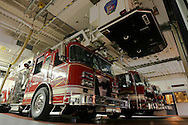 Swarthmore, PA - Swarthmore Fire Department Apparatus are draped in black bunting immediately after Cheif Cris Hansen passed away after a long fight with cancer. Engine 14-2 is a 1992 Marion Spartan Structural Pumper