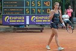May 19, 2018 - Trnava, Slovakia - VIKTORIA KUZMOVA of Slovakia celebrates winning her semifinal match in the Empire Slovak Open tennis tournament in Trnava Slovakia (Credit Image: © Christopher Levy via ZUMA Wire)