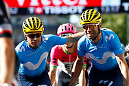 Mikel Nieve (ESP - Mitchelton - Scott) - Alejandro Valverde (ESP - Movistar) during the 105th Tour de France 2018, Stage 15, Millau - Carcassonne (181,5 km) on July 22th, 2018 - Photo Luca Bettini / BettiniPhoto / ProSportsImages / DPPI