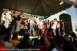 Arlen Ness gets crowned the winner on stage during the filming of a Discovery Channel Biker Build-Off in Puerto Rico. Photography ©2004 Michael Lichter.