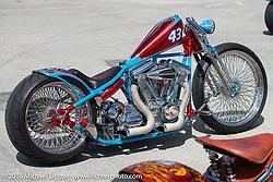 Warren Lanes custom Evo at the Rats Hole Custom Bike Show during Daytona Beach Bike Week 2015. FL, USA. March 14, 2015.  Photography ©2015 Michael Lichter.