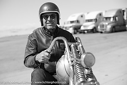 Bill Buckingham at a truckstop on his 1923 Harley-Davidson J model custom chopper (that won top honors at Born Free 6) during stage 11 (289 miles) of the Motorcycle Cannonball Cross-Country Endurance Run, which on this day ran from Grand Junction, CO to Springville, UT., USA. Tuesday, September 16, 2014.  Photography ©2014 Michael Lichter.