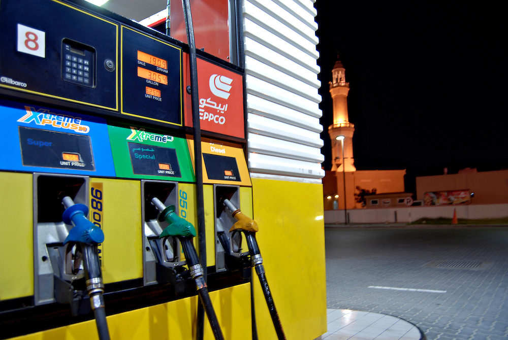 UAE, Dubai, Petrol station infront of a Mosque