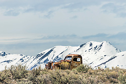 Old truck left to become part of the Idaho Mountains. The patina is just about right if anyone hurries up and saves it.