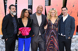 Jefrey Dean Morgan (left), Naomie Harris (second left), Dwayne Johnson, Malin Akerman (second right) and Brad Peyton (right) attending the European premiere of Rampage, held at the Cineworld in Leicester Square, London. Photo credit should read: Doug Peters/EMPICS Entertainment