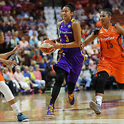 UNCASVILLE, CONNECTICUT- MAY 26:  Candace Parker #3 of the Los Angeles Sparks holds off the challenge of Alyssa Thomas #25 of the Connecticut Sun during the Los Angeles Sparks Vs Connecticut Sun, WNBA regular season game at Mohegan Sun Arena on May 26, 2016 in Uncasville, Connecticut. (Photo by Tim Clayton/Corbis via Getty Images)