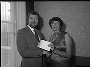 Nurse Of The Year Award.   (N68)..1981..02.04.1981..04.02.1981..2nd April 1981..The Irish national candidate for the 3M/I.C.N nursing fellowship award, Mrs Joan Barrett, was presented with the national award at a presentation in the Shelbourne Hotel, Dublin...Image shows Mr Leslie V O'Hora, sales and Marketing Manager, Healthcare Products,3M Irl, Ltd presenting the award to nurse Joan barrett. Nurse Barrett hails from Barnnageeha,Darragh,Ennis, Co Clare and works at the Audiology Dept.,St Finbarrs Hospital, Cork.