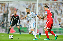 May 2, 2018 - Madrid, Spain - MADRID, SPAIN. May 1, 2018 - Karim Benzema with the ball. With a 2-2 draw against Bayern Munchen, Real Madrid made it to the UEFA Champions League Final for third time in a row. Kimmich and James scored for the german squad while Karim Benzema did it twice for los blancos. Goalkeeper Keylor Navas had a great night with several decisive interventions. (Credit Image: © VW Pics via ZUMA Wire)