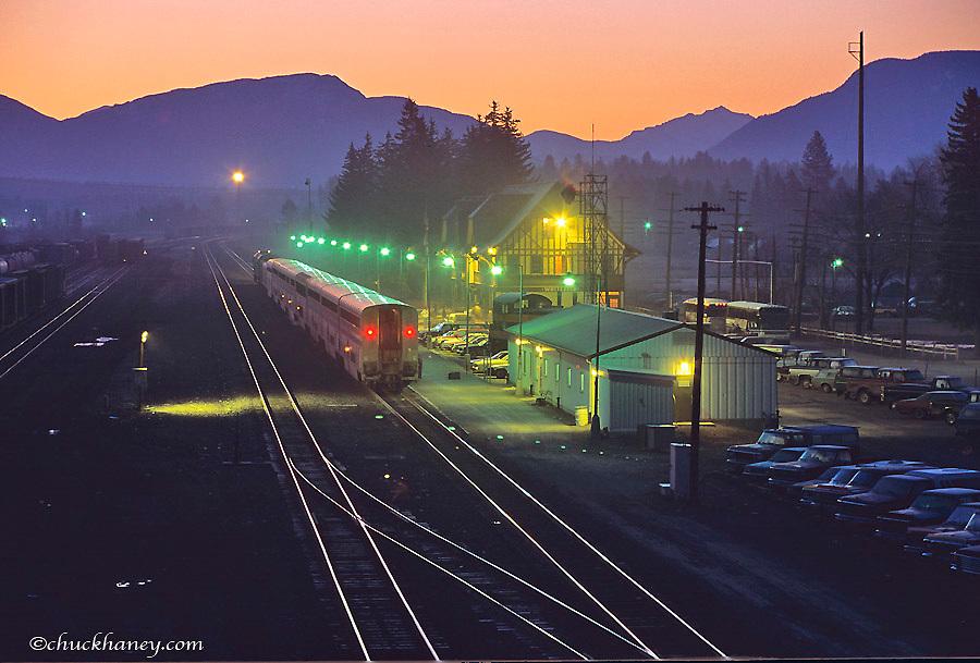 Amtrak Train at dawn at Whitefish Montana