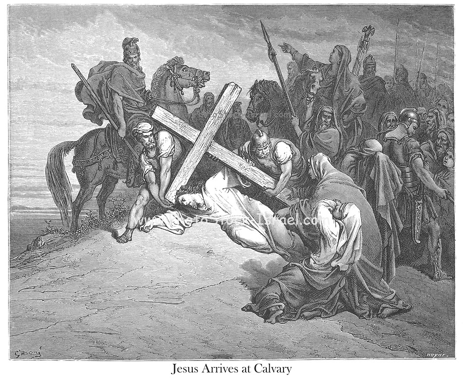 Jesus Arrives at Calvary [Matthew 27:33-34] From the book 'Bible Gallery' Illustrated by Gustave Dore with Memoir of Dore and Descriptive Letter-press by Talbot W. Chambers D.D. Published by Cassell & Company Limited in London and simultaneously by Mame in Tours, France in 1866