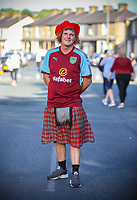 A Burnley fan poses for a picture before the match<br /> <br /> Photographer Alex Dodd/CameraSport<br /> <br /> UEFA Europa League - Europa League Qualifying Round 2 2nd Leg - Burnley v Aberdeen - Thursday 2nd August 2018 - Turf Moor - Burnley<br />  <br /> World Copyright © 2018 CameraSport. All rights reserved. 43 Linden Ave. Countesthorpe. Leicester. England. LE8 5PG - Tel: +44 (0) 116 277 4147 - admin@camerasport.com - www.camerasport.com