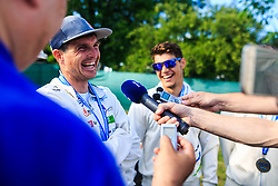 Kauzer Peter and Testen Niko of Slovenia, 3rd place in Kayak (K1) teams event after medal ceremony  during Day 2 of 2018 ECA Canoe Slalom European Championships, on June 2nd, 2018 in Troja , Prague, Czech Republic. Photo by Grega Valancic / Sportida